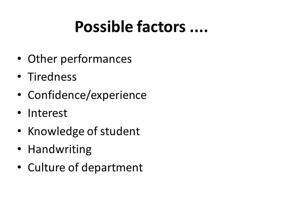 Possible factors....