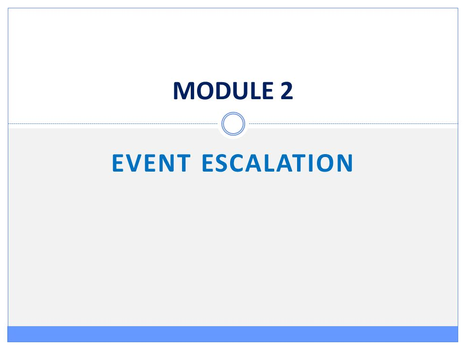 MODULE 2 EVENT ESCALATION