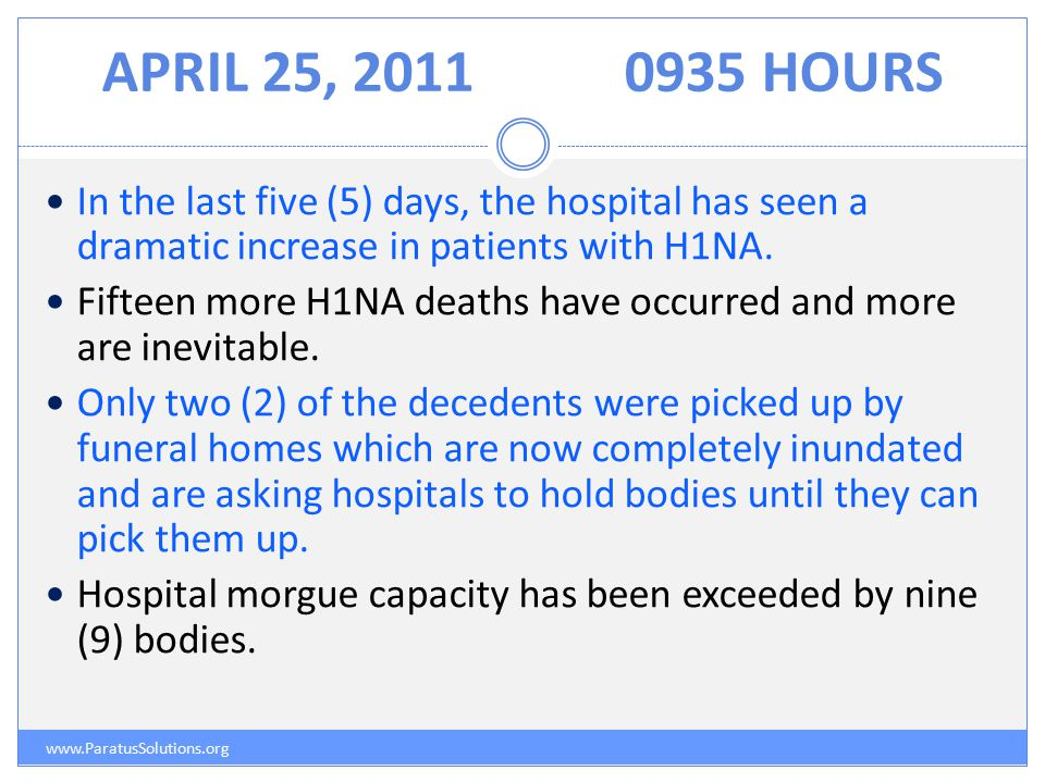 APRIL 25, 20110935 HOURS www.ParatusSolutions.org In the last five (5) days, the hospital has seen a dramatic increase in patients with H1NA.