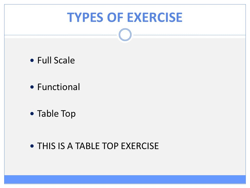 TYPES OF EXERCISE Full Scale Functional Table Top THIS IS A TABLE TOP EXERCISE