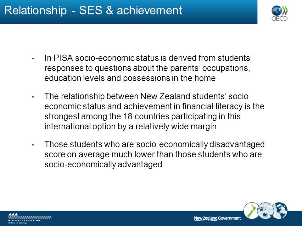 Relationship - SES & achievement In PISA socio-economic status is derived from students' responses to questions about the parents' occupations, education levels and possessions in the home The relationship between New Zealand students' socio- economic status and achievement in financial literacy is the strongest among the 18 countries participating in this international option by a relatively wide margin Those students who are socio-economically disadvantaged score on average much lower than those students who are socio-economically advantaged