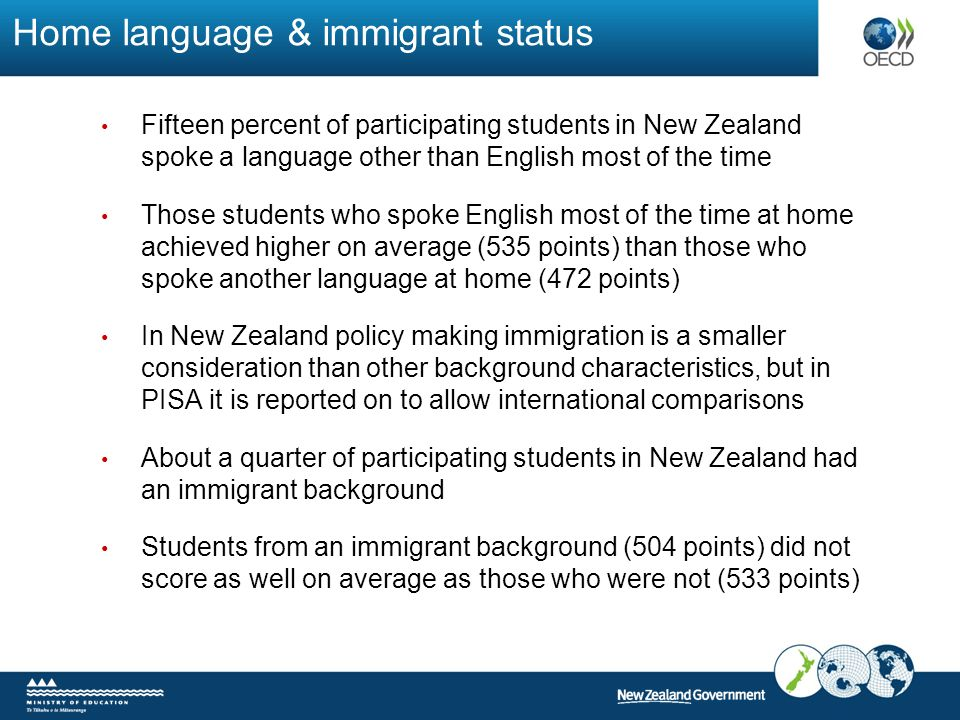 Home language & immigrant status Fifteen percent of participating students in New Zealand spoke a language other than English most of the time Those s
