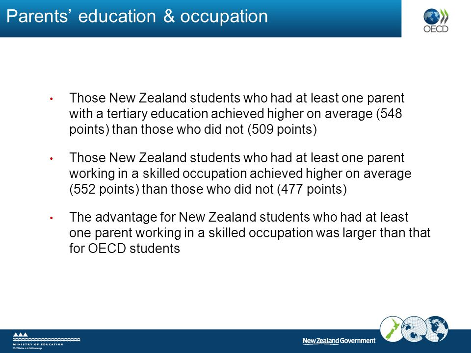 Parents' education & occupation Those New Zealand students who had at least one parent with a tertiary education achieved higher on average (548 point