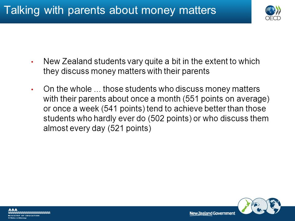 Talking with parents about money matters New Zealand students vary quite a bit in the extent to which they discuss money matters with their parents On