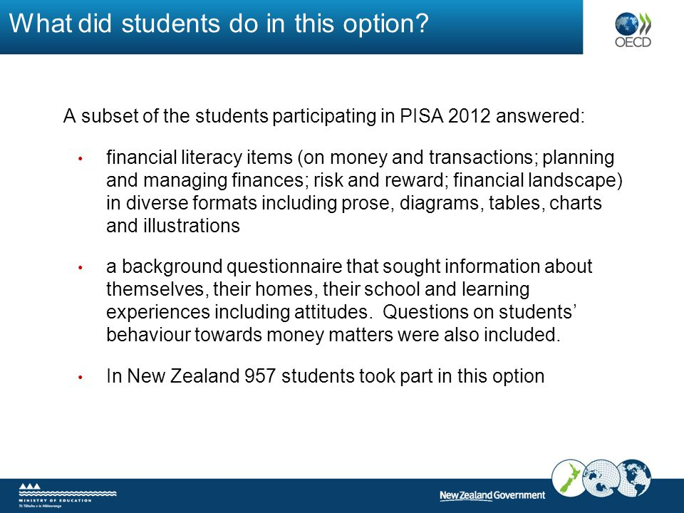What did students do in this option? A subset of the students participating in PISA 2012 answered: financial literacy items (on money and transactions
