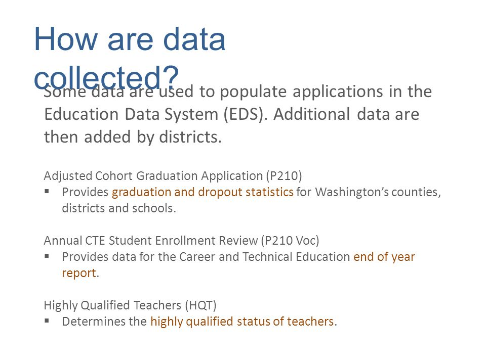 Similar to CEDARS, OSPI reports data to the federal government, using the Education Data Exchange Network (EDEN).