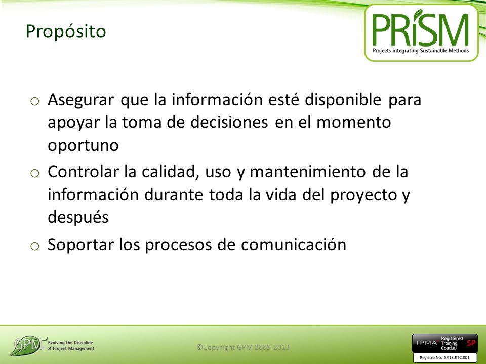 Propósito o Asegurar que la información esté disponible para apoyar la toma de decisiones en el momento oportuno o Controlar la calidad, uso y manteni