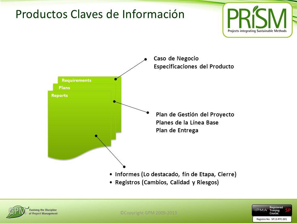 Productos Claves de Información Requirements Plans Reports Caso de Negocio Especificaciones del Producto Plan de Gestión del Proyecto Planes de la Lín