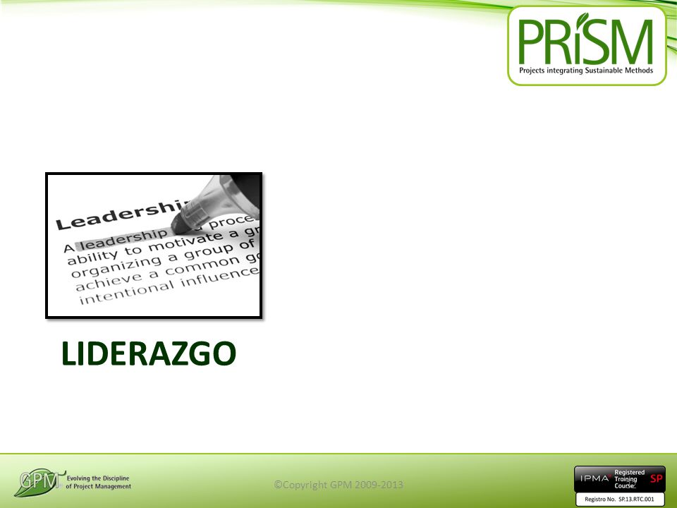 LIDERAZGO ©Copyright GPM 2009-201332