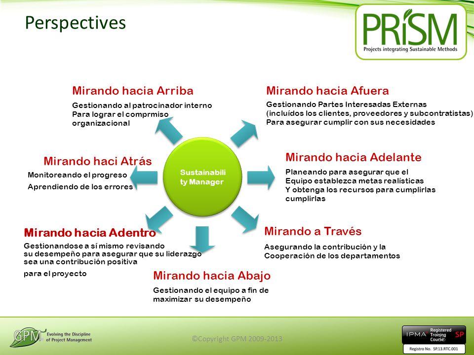 Perspectives Mirando hacia Arriba Gestionando al patrocinador interno Para lograr el comprmiso organizacional Mirando haci Atrás Monitoreando el progr