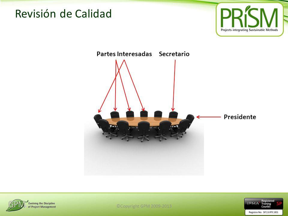 Revisión de Calidad SecretarioPartes Interesadas Presidente ©Copyright GPM 2009-201348