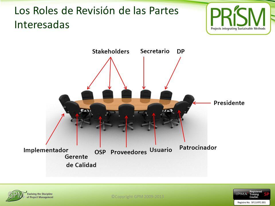 Los Roles de Revisión de las Partes Interesadas Secretario Stakeholders Presidente OSP Usuario Implementador Patrocinador Gerente de Calidad Proveedor