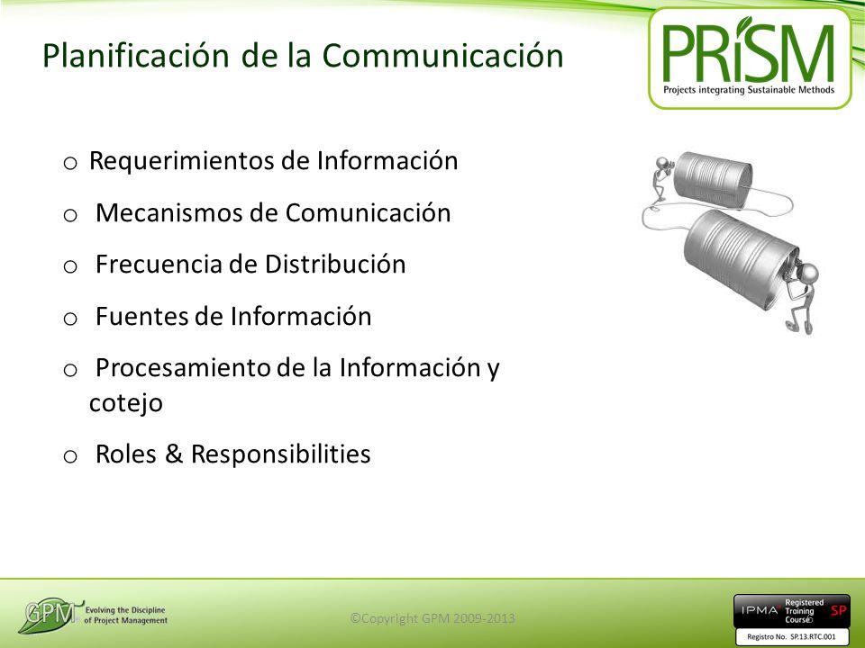 Planificación de la Communicación o Requerimientos de Información o Mecanismos de Comunicación o Frecuencia de Distribución o Fuentes de Información o