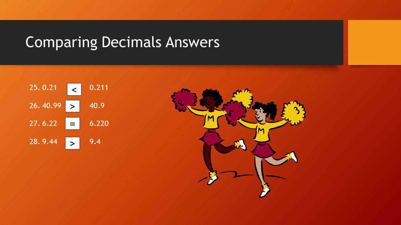 Comparing Decimals Answers 25. 0.210.211 26. 40.9940.9 27. 6.226.220 28. 9.449.4 < > = >