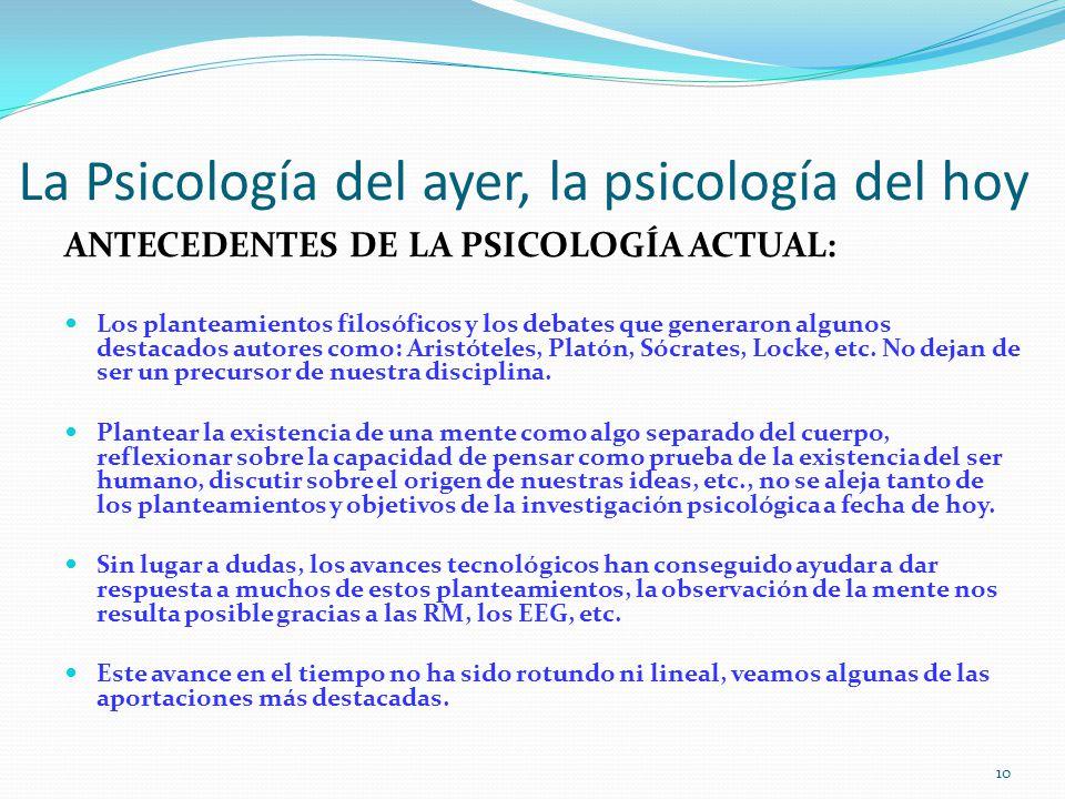 La Psicología del ayer, la psicología del hoy ANTECEDENTES DE LA PSICOLOGÍA ACTUAL: Los planteamientos filosóficos y los debates que generaron algunos destacados autores como: Aristóteles, Platón, Sócrates, Locke, etc.