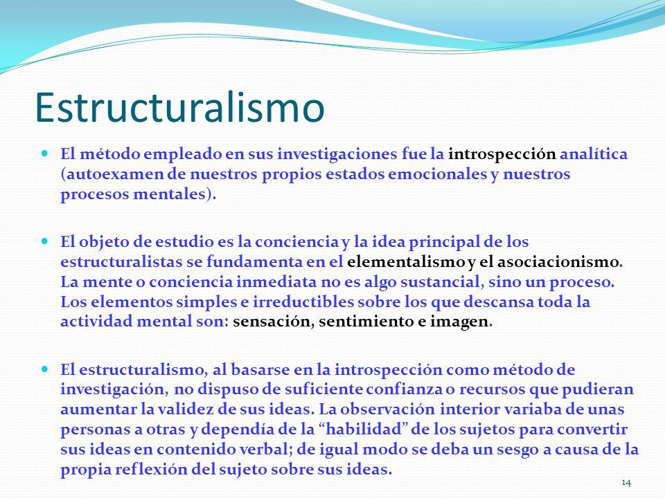 Estructuralismo El método empleado en sus investigaciones fue la introspección analítica (autoexamen de nuestros propios estados emocionales y nuestros procesos mentales).