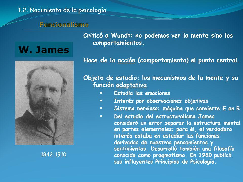 Criticó a Wundt: no podemos ver la mente sino los comportamientos.