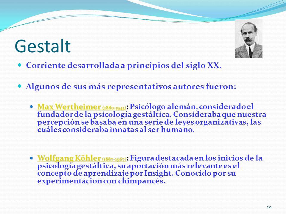 Gestalt Corriente desarrollada a principios del siglo XX.