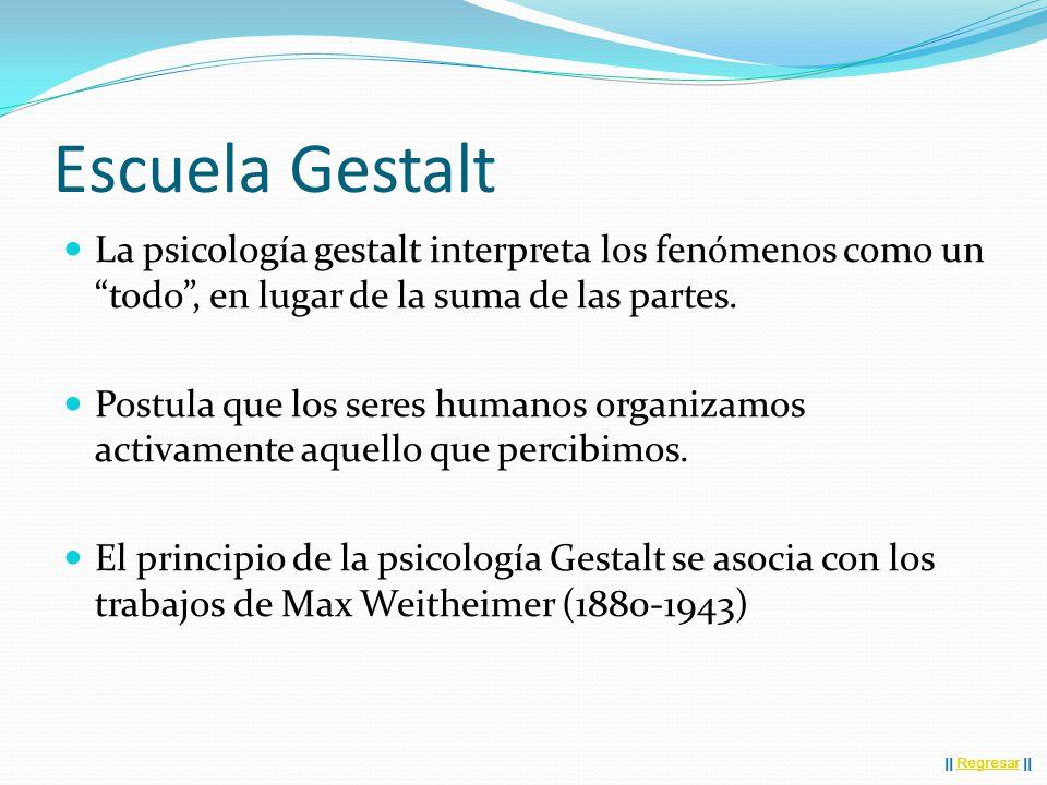Escuela Gestalt La psicología gestalt interpreta los fenómenos como un todo , en lugar de la suma de las partes.