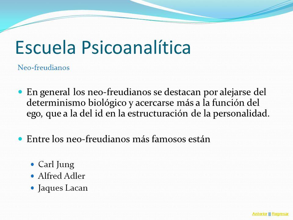 Escuela Psicoanalítica Neo-freudianos En general los neo-freudianos se destacan por alejarse del determinismo biológico y acercarse más a la función del ego, que a la del id en la estructuración de la personalidad.