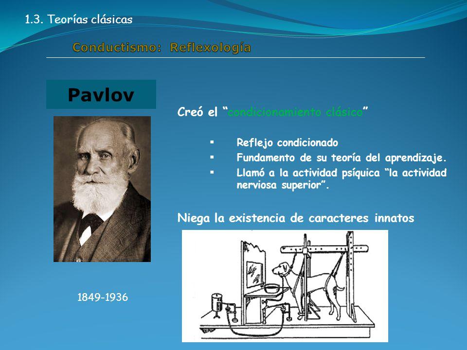 Creó el condicionamiento clásico  Reflejo condicionado  Fundamento de su teoría del aprendizaje.