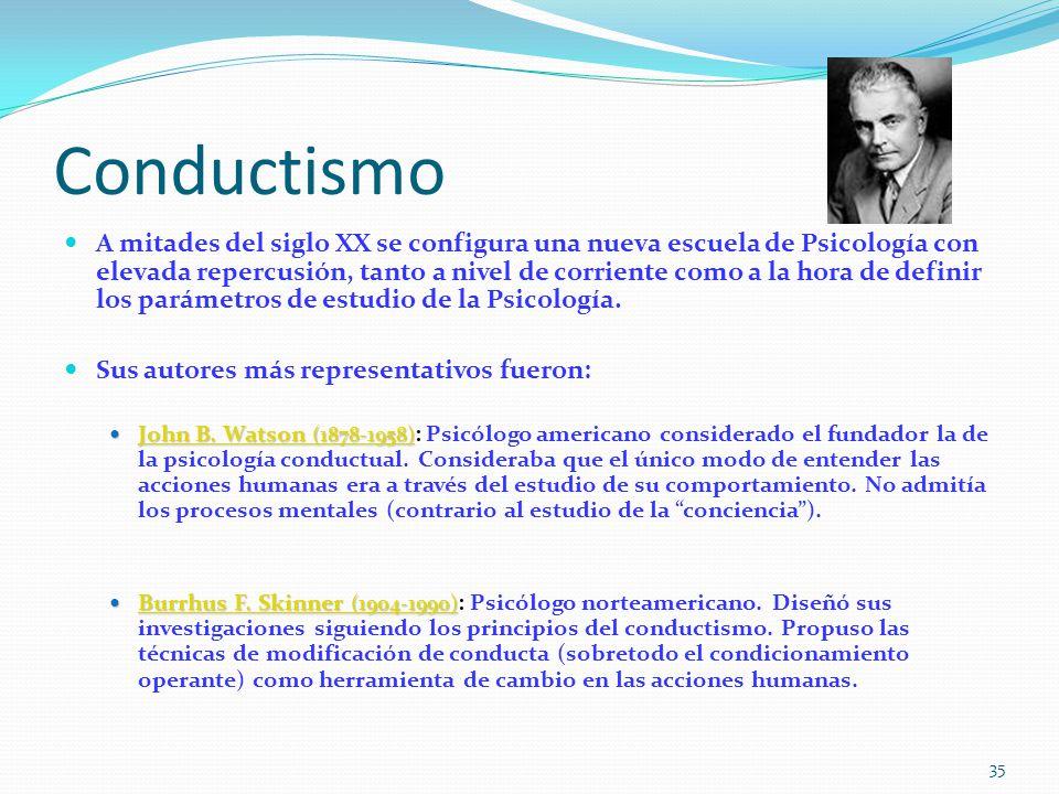 Conductismo A mitades del siglo XX se configura una nueva escuela de Psicología con elevada repercusión, tanto a nivel de corriente como a la hora de definir los parámetros de estudio de la Psicología.