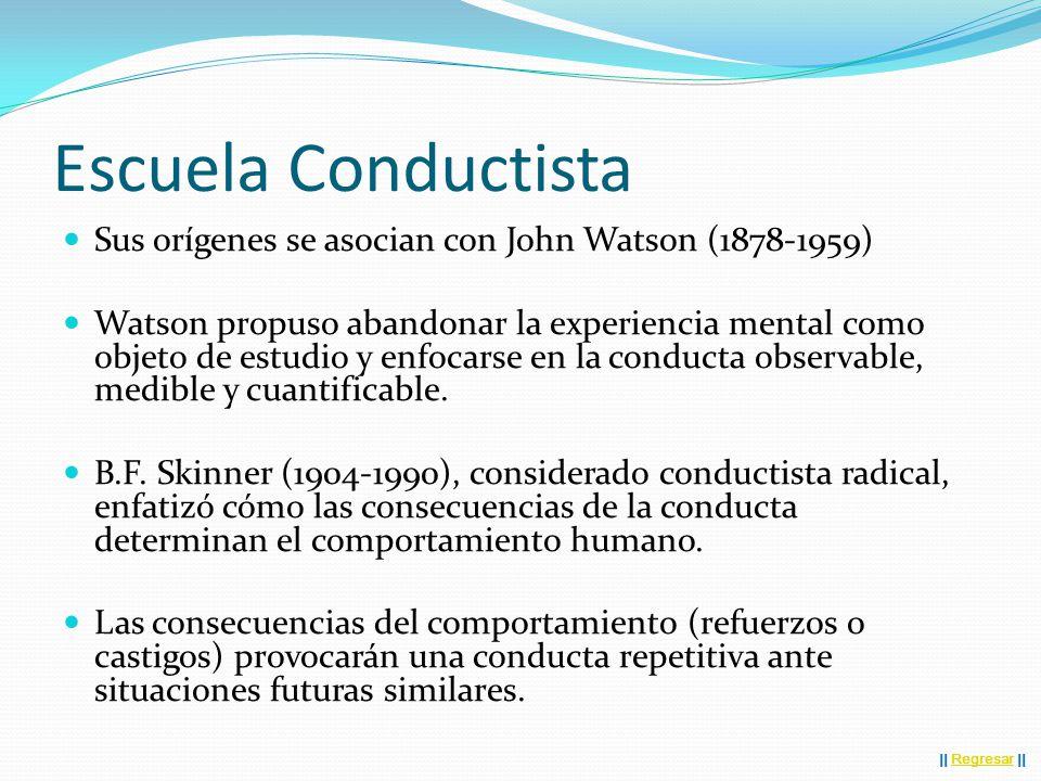 Escuela Conductista Sus orígenes se asocian con John Watson (1878-1959) Watson propuso abandonar la experiencia mental como objeto de estudio y enfocarse en la conducta observable, medible y cuantificable.