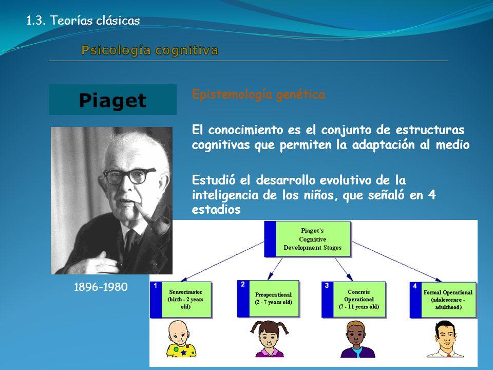 Epistemología genética El conocimiento es el conjunto de estructuras cognitivas que permiten la adaptación al medio Estudió el desarrollo evolutivo de la inteligencia de los niños, que señaló en 4 estadios Piaget 1896-1980 1.3.