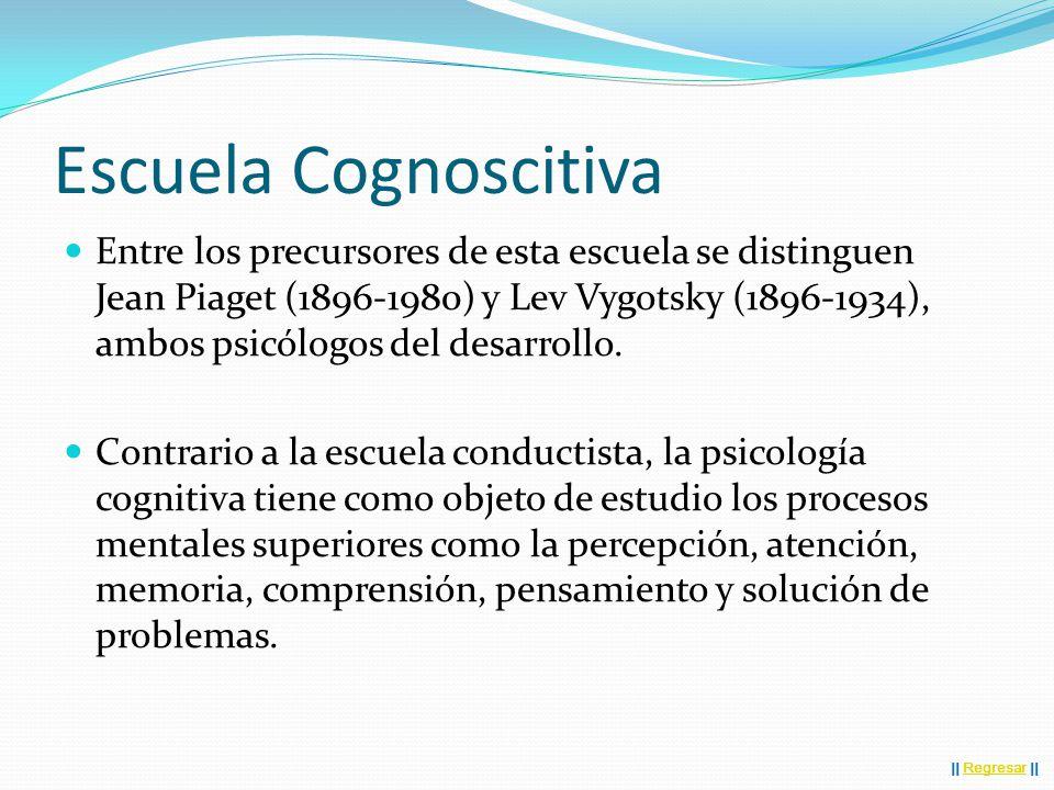 Escuela Cognoscitiva Entre los precursores de esta escuela se distinguen Jean Piaget (1896-1980) y Lev Vygotsky (1896-1934), ambos psicólogos del desarrollo.