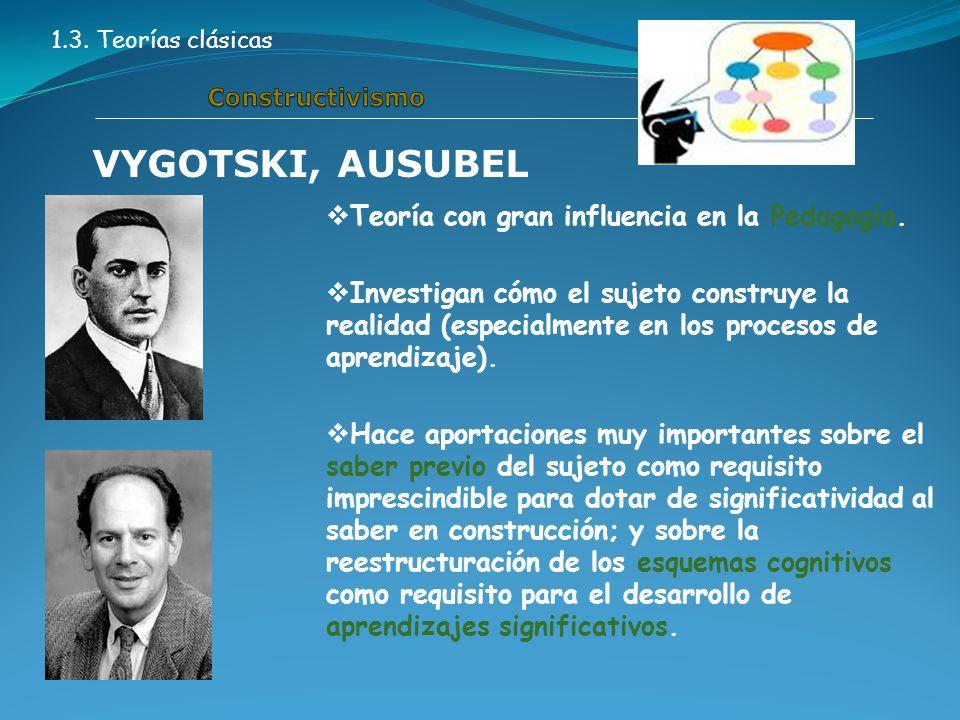 1.3. Teorías clásicas VYGOTSKI, AUSUBEL  Teoría con gran influencia en la Pedagogía.