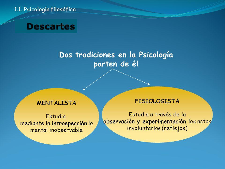 Dos tradiciones en la Psicología parten de él MENTALISTA Estudia mediante la introspección lo mental inobservable FISIOLOGISTA Estudia a través de la observación y experimentación los actos involuntarios (reflejos) 1.1.