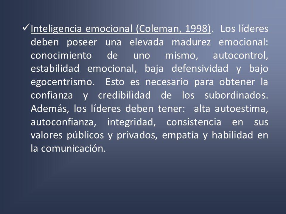 Inteligencia emocional (Coleman, 1998). Los líderes deben poseer una elevada madurez emocional: conocimiento de uno mismo, autocontrol, estabilidad em