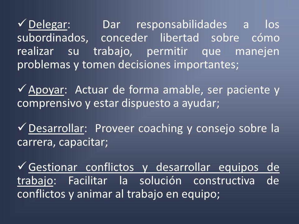 Delegar: Dar responsabilidades a los subordinados, conceder libertad sobre cómo realizar su trabajo, permitir que manejen problemas y tomen decisiones