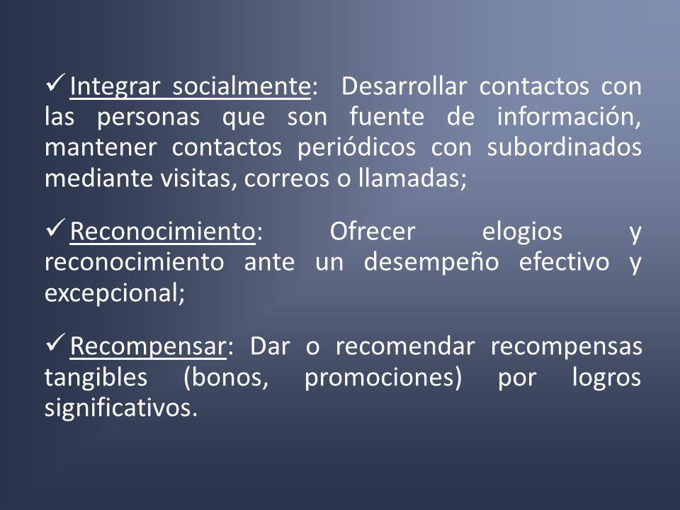 Integrar socialmente: Desarrollar contactos con las personas que son fuente de información, mantener contactos periódicos con subordinados mediante vi