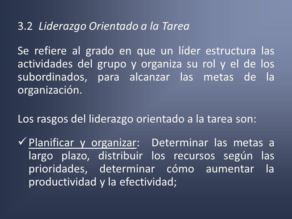 3.2 Liderazgo Orientado a la Tarea Se refiere al grado en que un líder estructura las actividades del grupo y organiza su rol y el de los subordinados