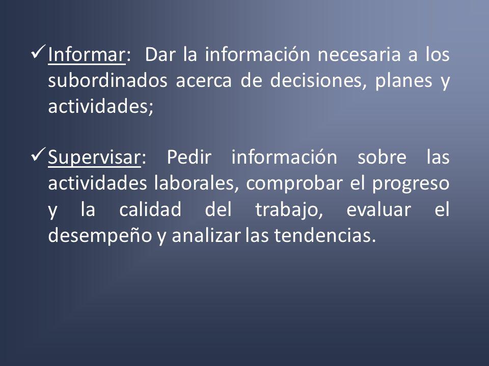 Informar: Dar la información necesaria a los subordinados acerca de decisiones, planes y actividades; Supervisar: Pedir información sobre las activida