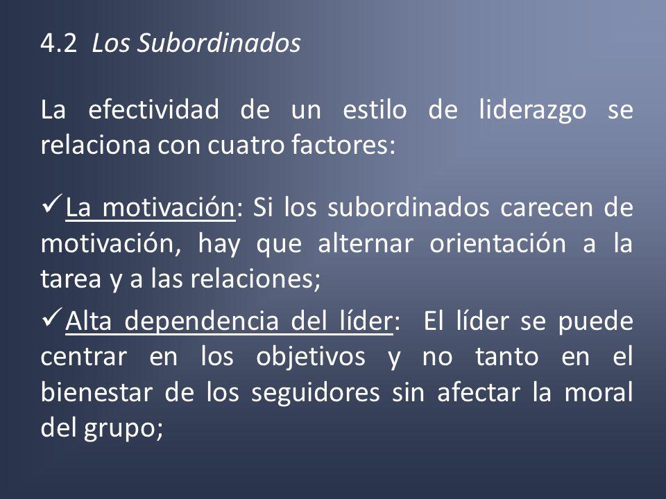 4.2 Los Subordinados La efectividad de un estilo de liderazgo se relaciona con cuatro factores: La motivación: Si los subordinados carecen de motivaci