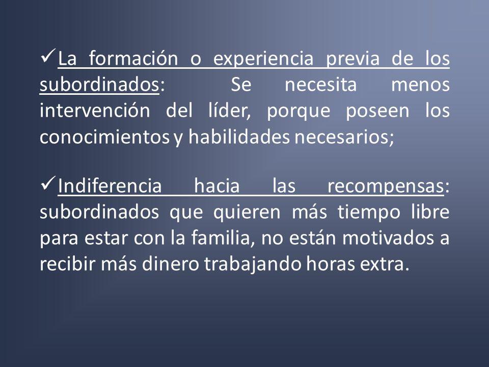 La formación o experiencia previa de los subordinados: Se necesita menos intervención del líder, porque poseen los conocimientos y habilidades necesar