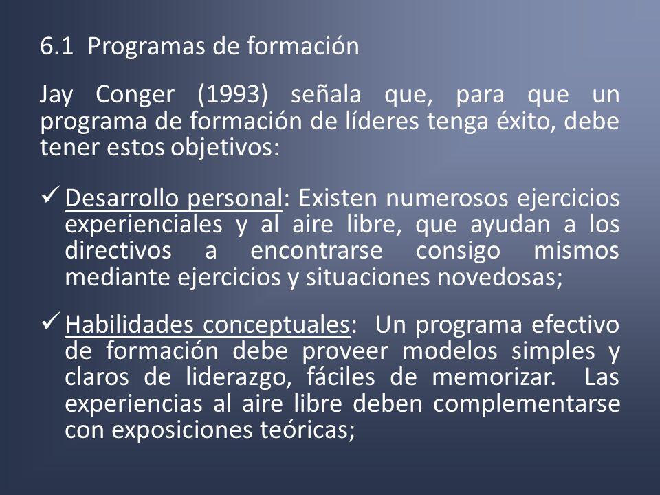 6.1 Programas de formación Jay Conger (1993) señala que, para que un programa de formación de líderes tenga éxito, debe tener estos objetivos: Desarro