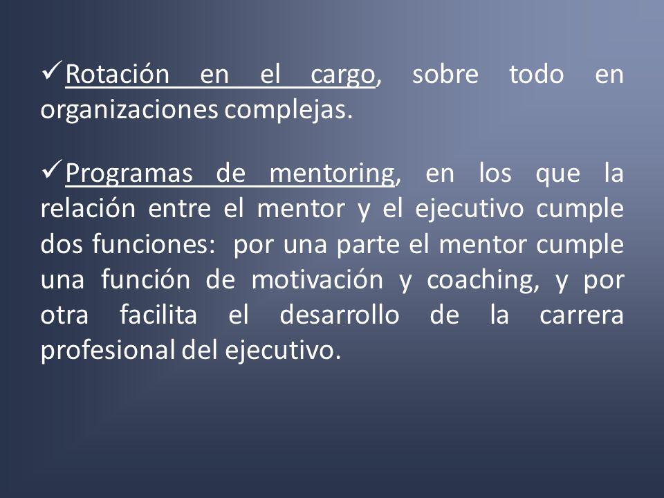 Rotación en el cargo, sobre todo en organizaciones complejas. Programas de mentoring, en los que la relación entre el mentor y el ejecutivo cumple dos