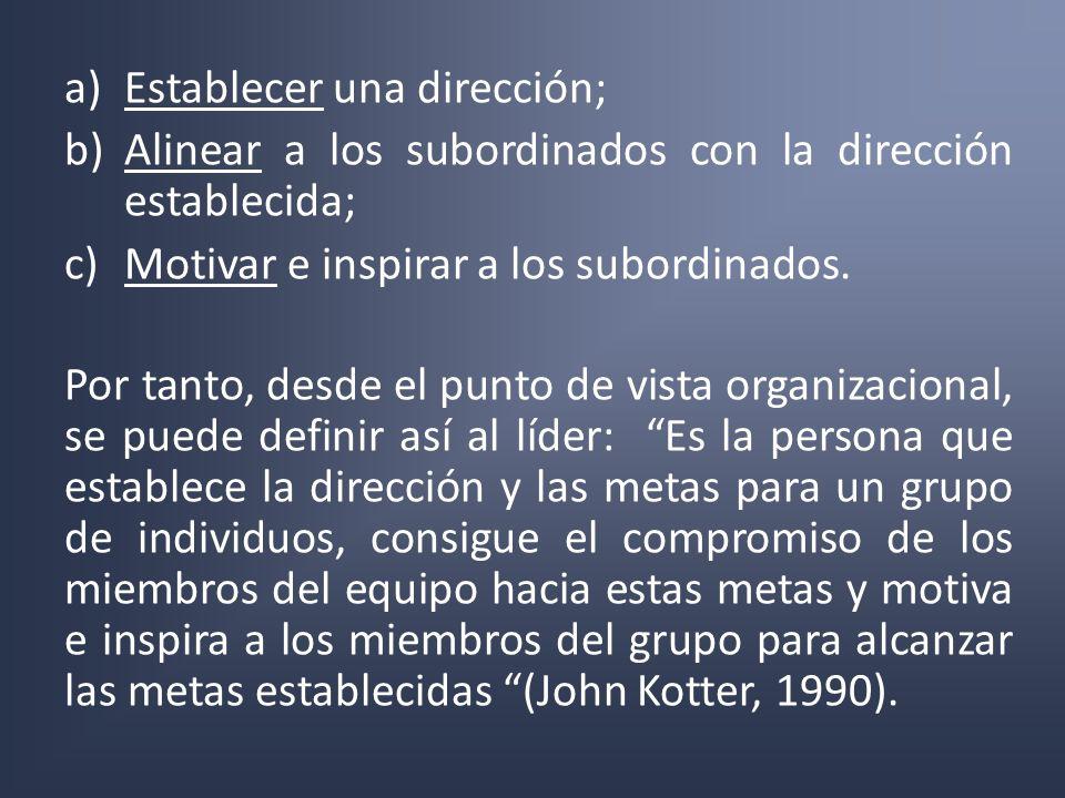 a)Establecer una dirección; b)Alinear a los subordinados con la dirección establecida; c)Motivar e inspirar a los subordinados. Por tanto, desde el pu