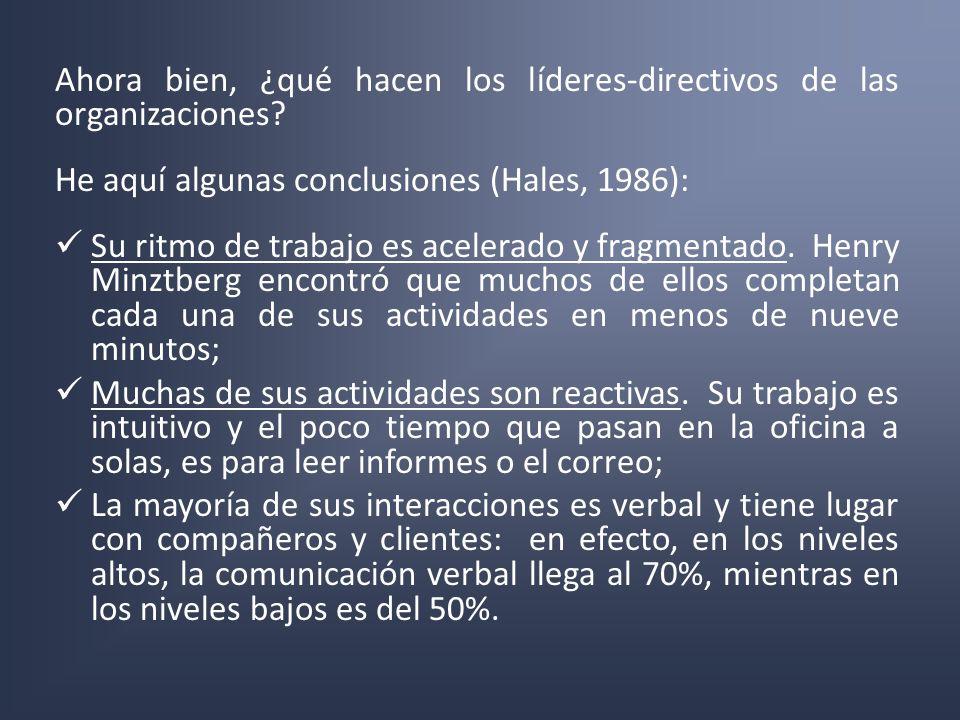 Ahora bien, ¿qué hacen los líderes-directivos de las organizaciones? He aquí algunas conclusiones (Hales, 1986): Su ritmo de trabajo es acelerado y fr