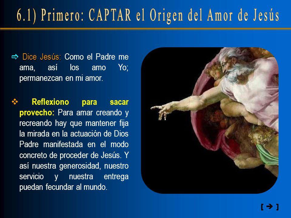 [  ]  Dice Jesús: Jesús: Como el Padre me ama, así los amo Yo; permanezcan en mi amor.  Reflexiono para sacar provecho: Para amar creando y recrean
