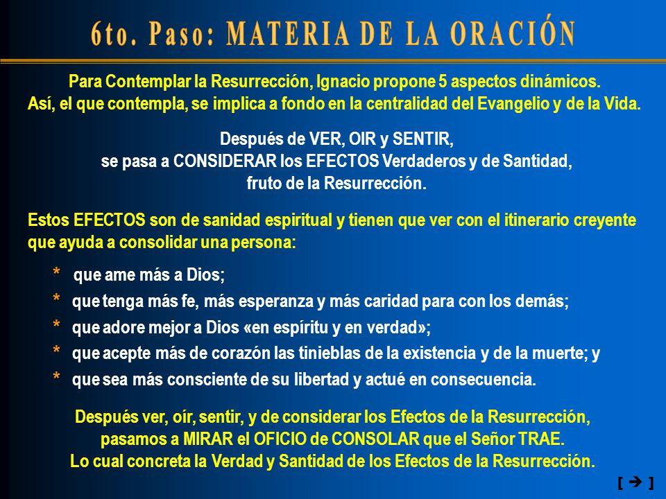 Después de VER, OIR y SENTIR, se pasa a CONSIDERAR los EFECTOS Verdaderos y de Santidad, fruto de la Resurrección.
