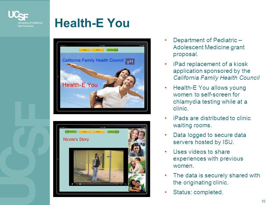 10 Health-E You Department of Pediatric – Adolescent Medicine grant proposal.