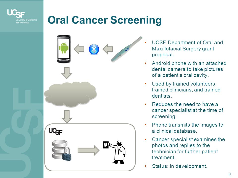 16 Oral Cancer Screening UCSF Department of Oral and Maxillofacial Surgery grant proposal.