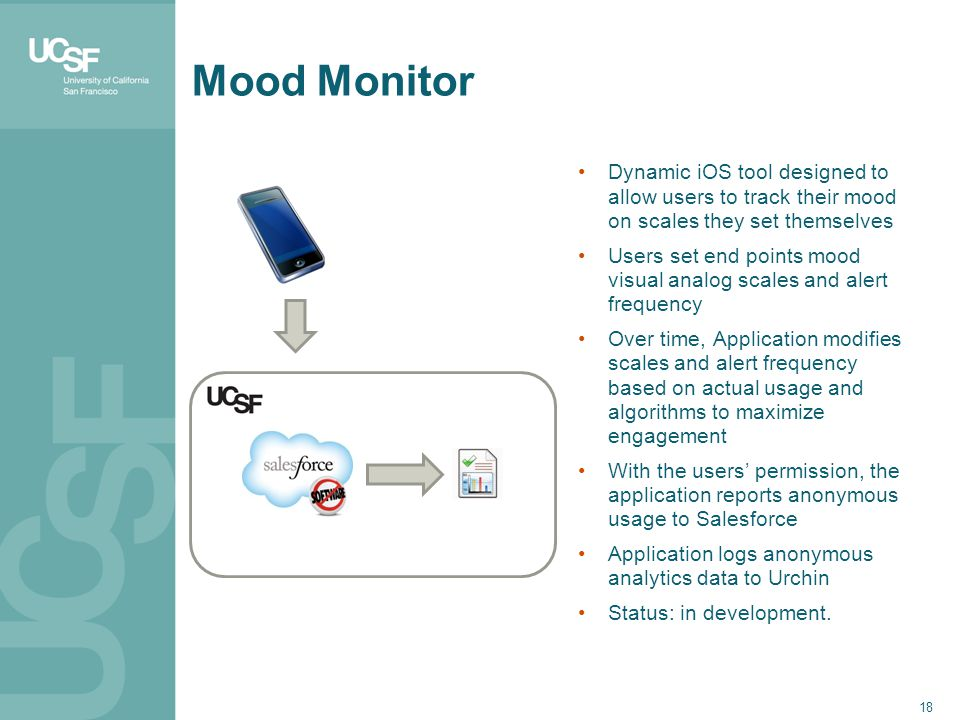 18 Mood Monitor Dynamic iOS tool designed to allow users to track their mood on scales they set themselves Users set end points mood visual analog scales and alert frequency Over time, Application modifies scales and alert frequency based on actual usage and algorithms to maximize engagement With the users' permission, the application reports anonymous usage to Salesforce Application logs anonymous analytics data to Urchin Status: in development.