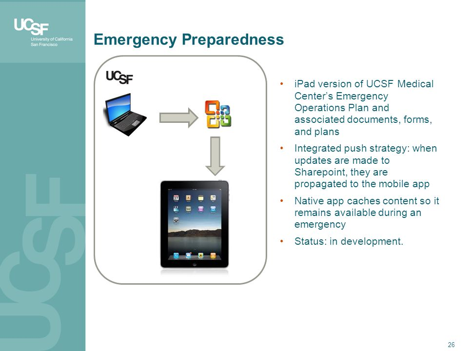 26 Emergency Preparedness iPad version of UCSF Medical Center's Emergency Operations Plan and associated documents, forms, and plans Integrated push strategy: when updates are made to Sharepoint, they are propagated to the mobile app Native app caches content so it remains available during an emergency Status: in development.