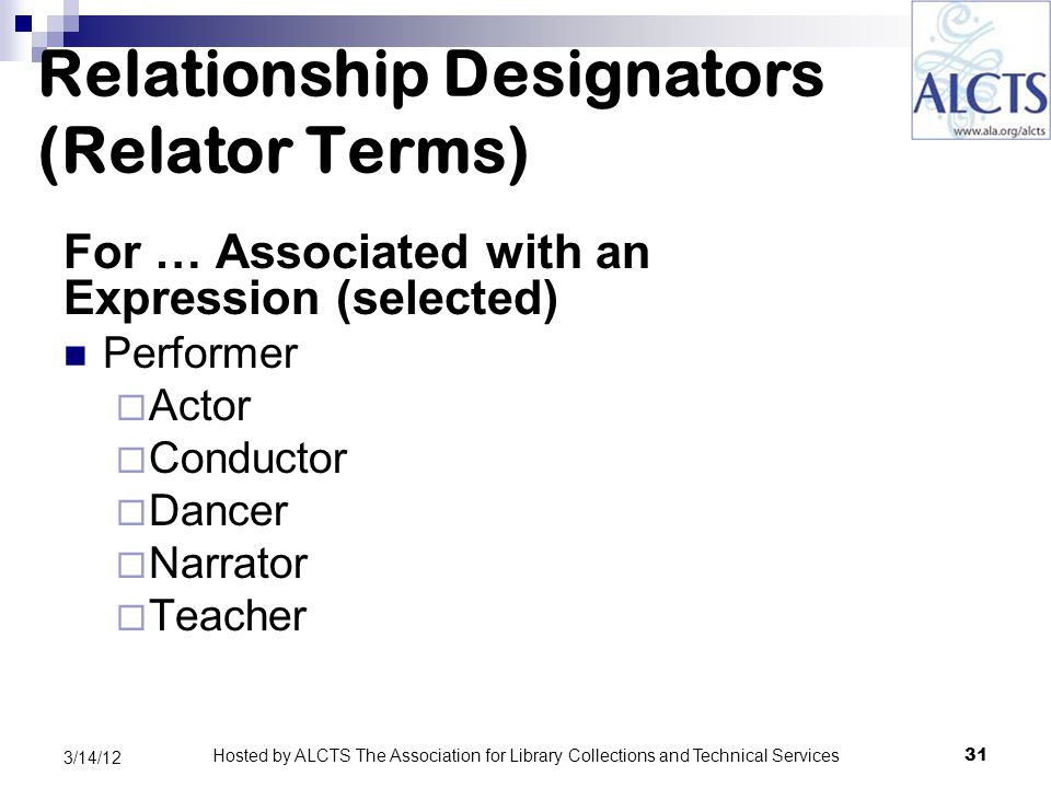 Relationship Designators (Relator Terms) For … Associated with an Expression (selected) Performer  Actor  Conductor  Dancer  Narrator  Teacher 31 3/14/12 Hosted by ALCTS The Association for Library Collections and Technical Services