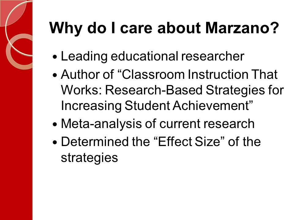 Effect Size Expresses an increase or decrease in achievement of the experimental group.20 Effect size = small increase in achievement.50 Effect size = medium increase in achievement.80 Effect size = large increase in achievement